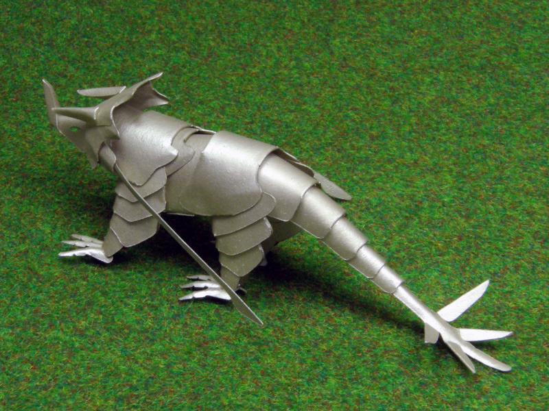 ファイバークラフト紙で作るワンペーパードラゴンNo.14 ArmorDragon 塗装仕上げ1