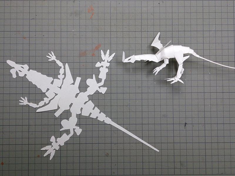 ファイバークラフト紙で作るワンペーパードラゴンNo16_1