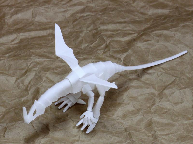 ファイバークラフト紙で作るワンペーパードラゴンNo16_2