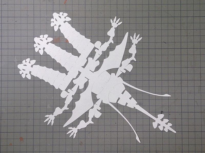 ファイバークラフト紙で作るワンペーパードラゴンNo18_型紙イメージ