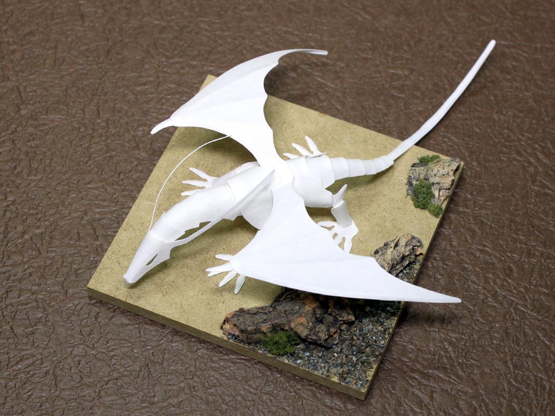 ファイバークラフト紙で作るワンペーパードラゴン,ForestDragon_Ver.3_2